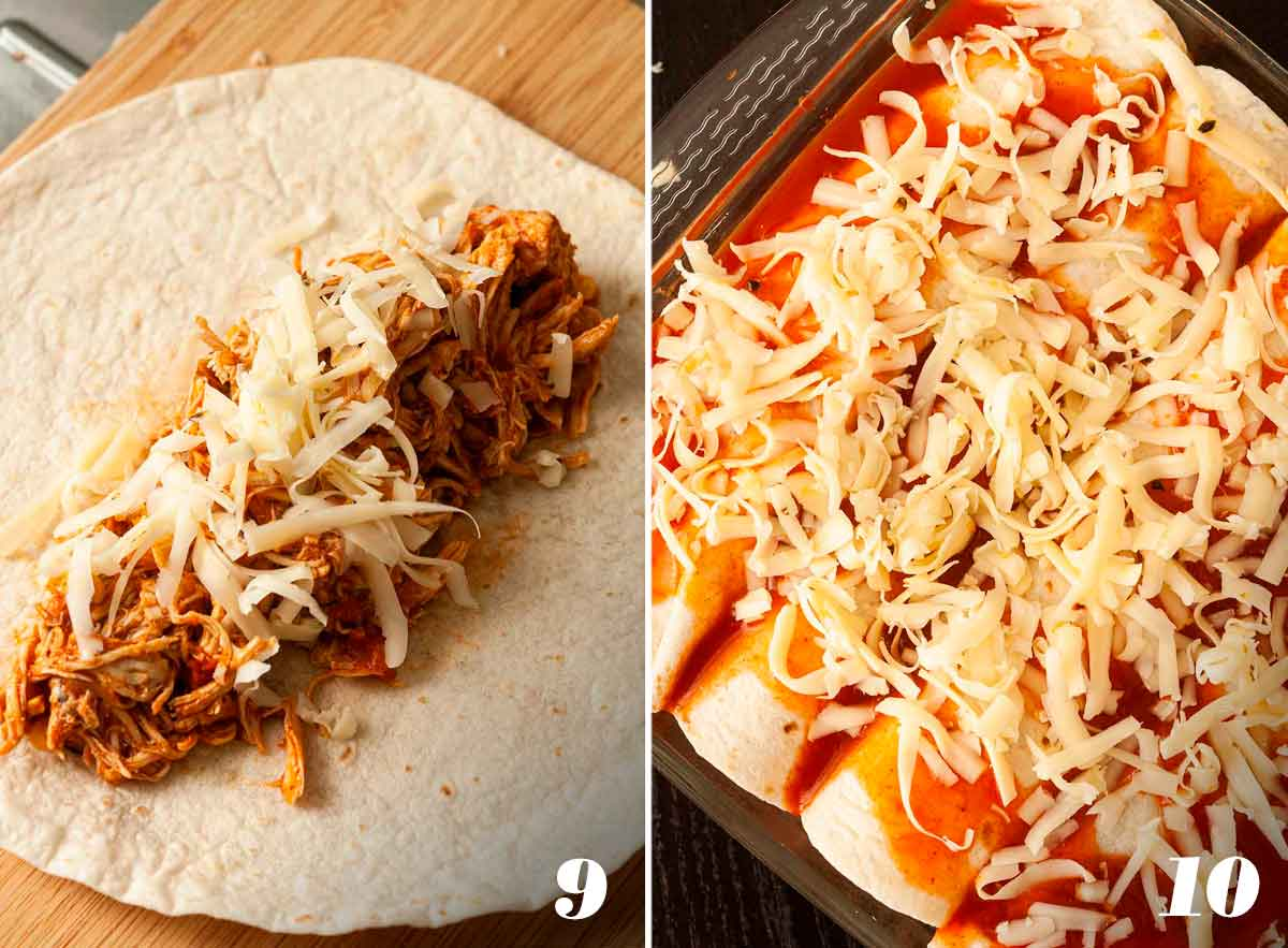 2 numbered images showing how to fill and top enchiladas before baking.