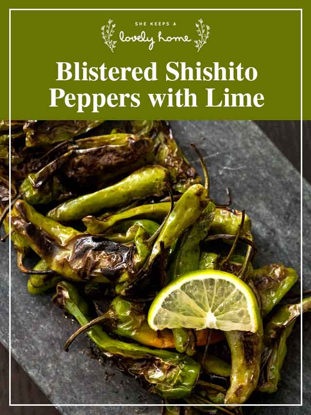 """Shishito peppers on a slate with a slice of lime and a title that says """"Blistered Shishito Peppers with Lime."""""""