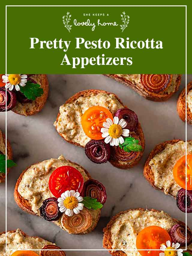 """8 colorful appetizers on marble with a title that says """"Pretty Pesto Ricotta Appetizers."""""""