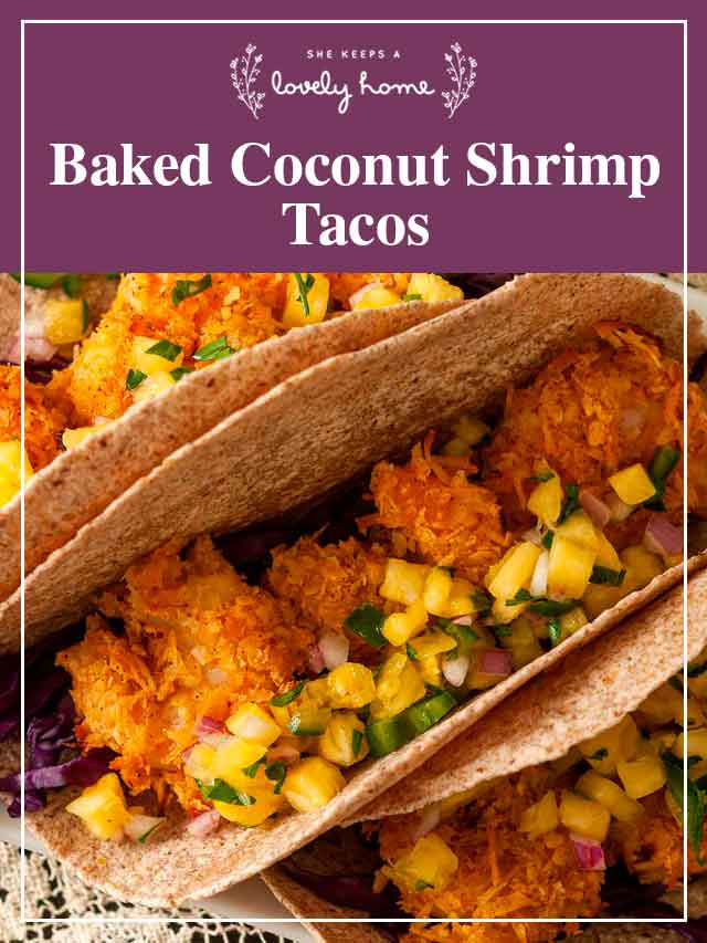 """3 coconut shrimp tacos on a plate with a title that says """"Baked Coconut Shrimp Tacos."""""""