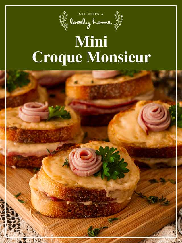 """4 mini croque monsieur on a cutting board with a title that says """"Mini Croque Monsieur."""""""