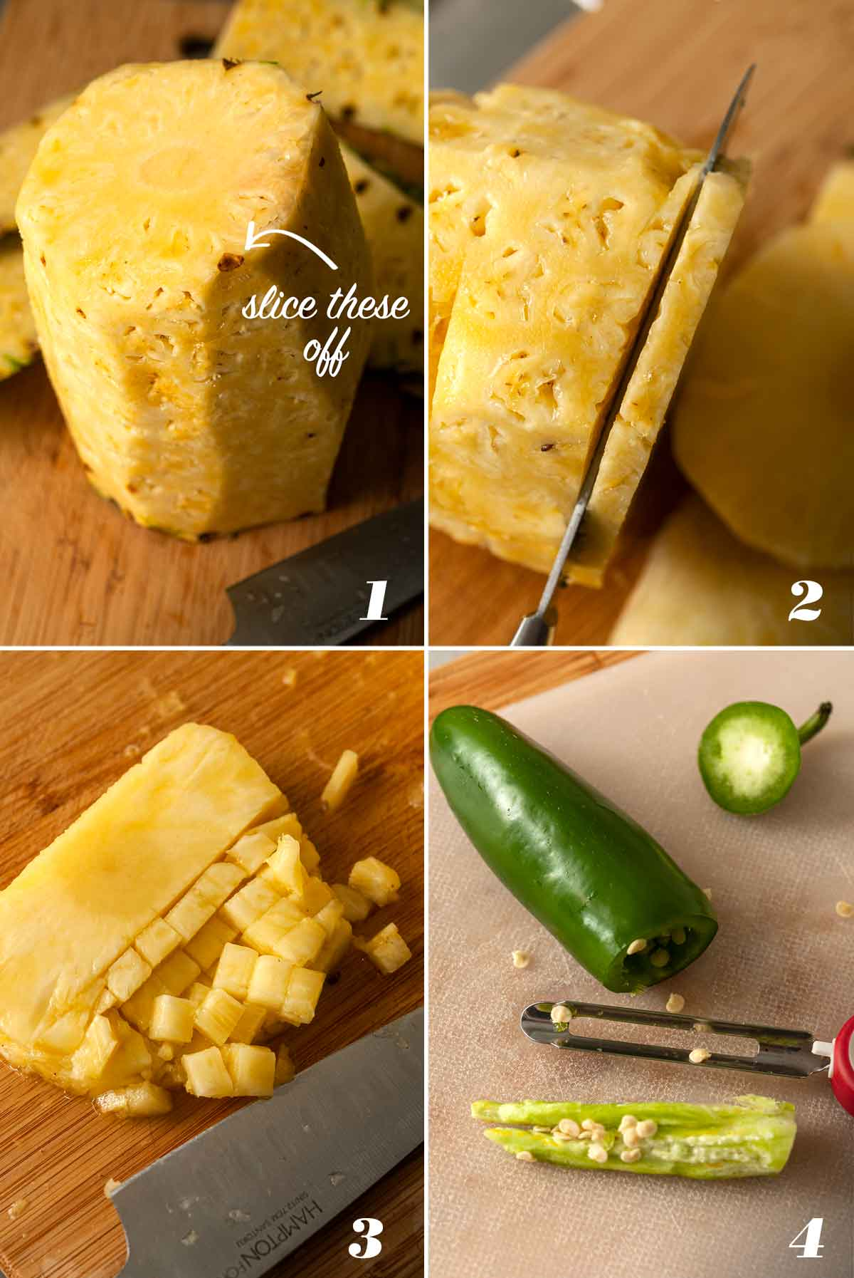 A collage of 4 numbered images showing how to prepare ingredients for salsa.