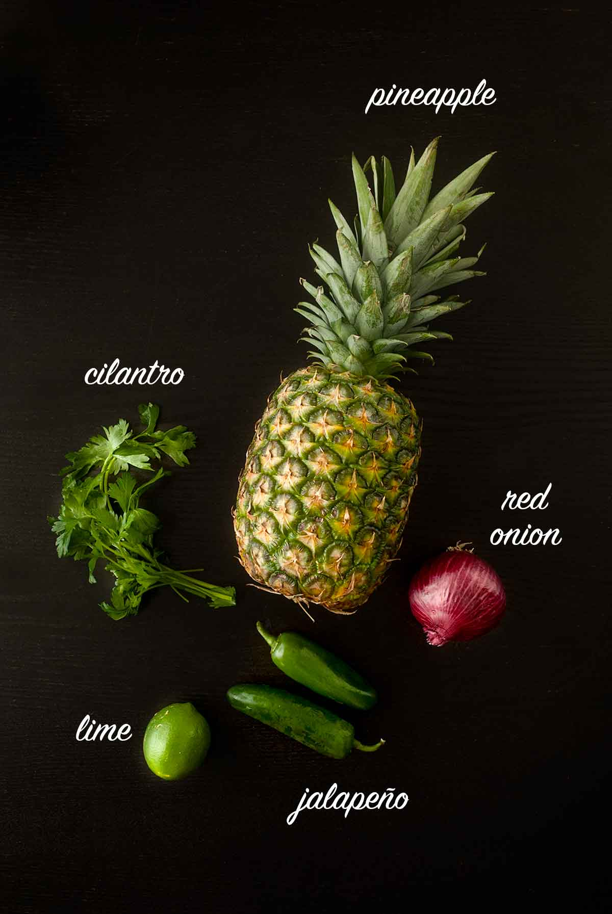 Ingredients for making pineapple jalapeño salsa on a black table with titles describing what they are.