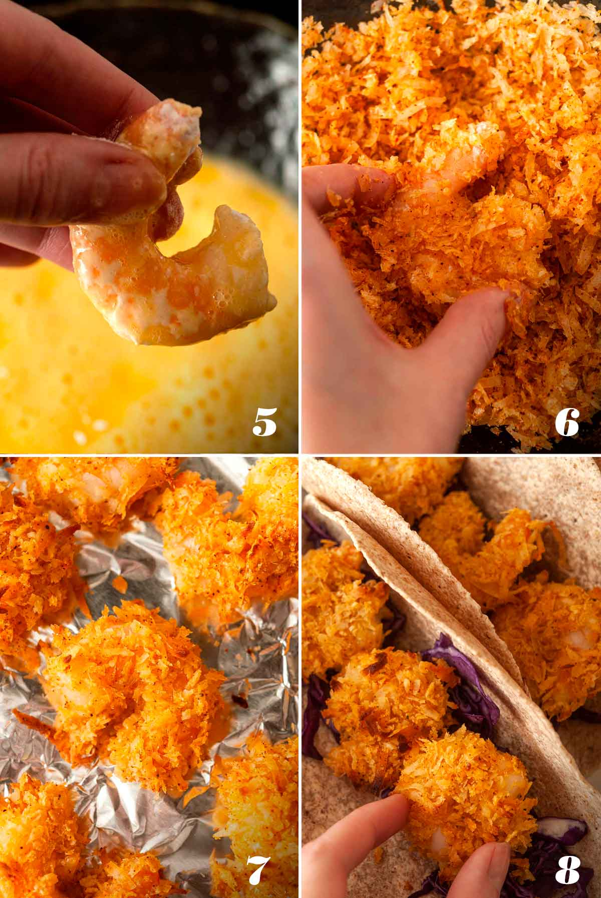 A collage of 4 numbered images showing how to dip and bake coconut shrimp.