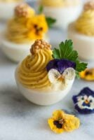 4 deviled eggs on marble, garnished with flowers, cilantro and mustard caviar beside 3 scattered flowers.