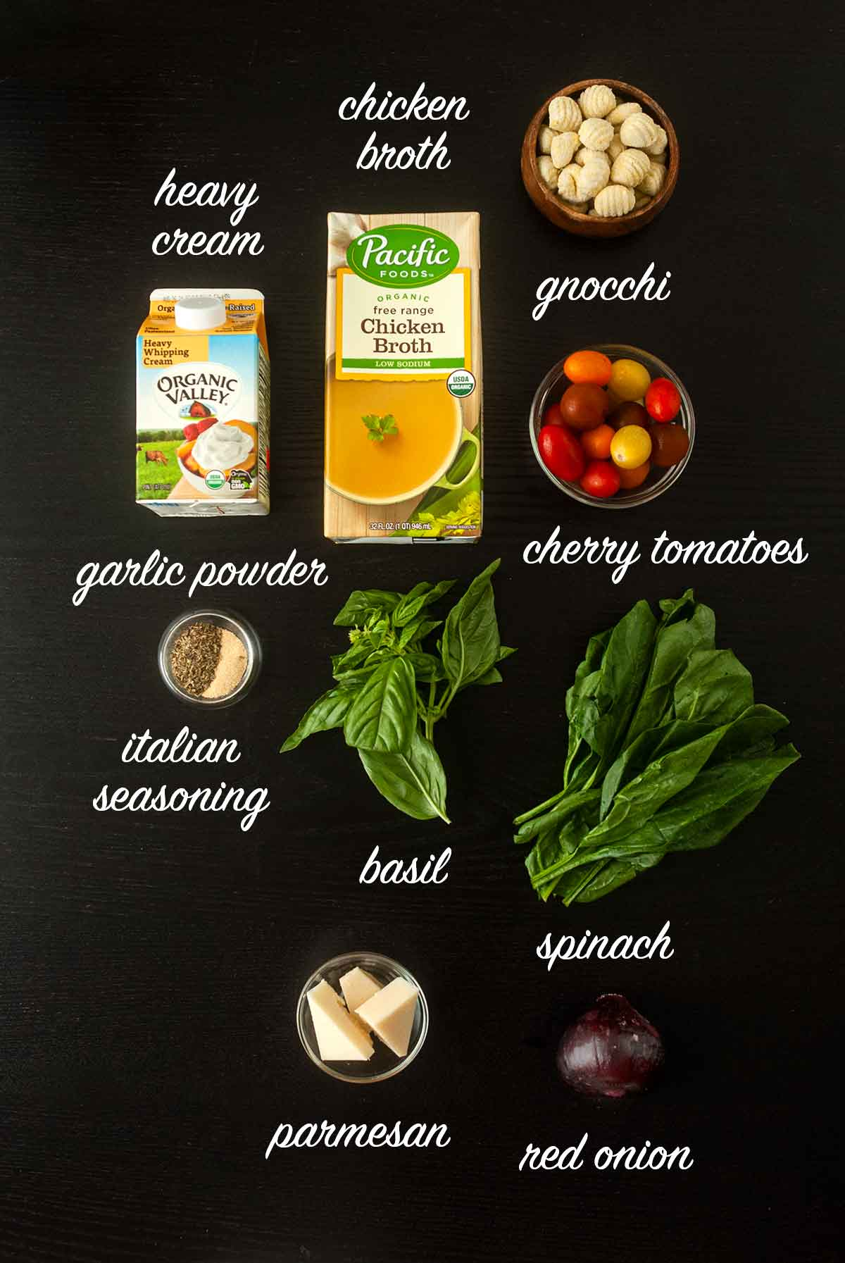 9 ingredients on a table with text labels describing what they are.