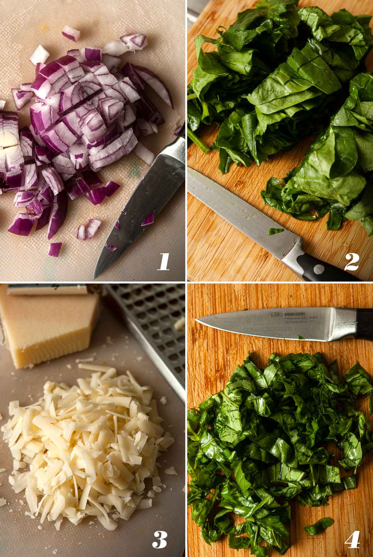 A collage of 4 numbered images showing how to prepare ingredients.