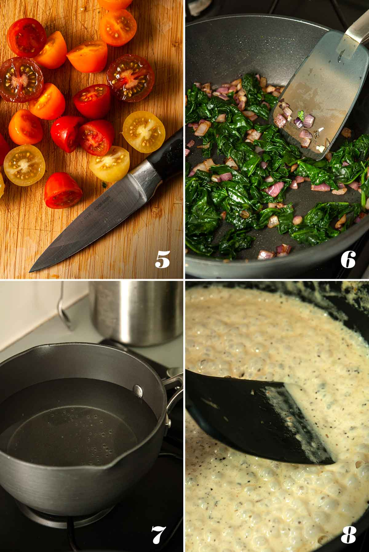 A collage of 4 numbered images showing how to cook ingredients.