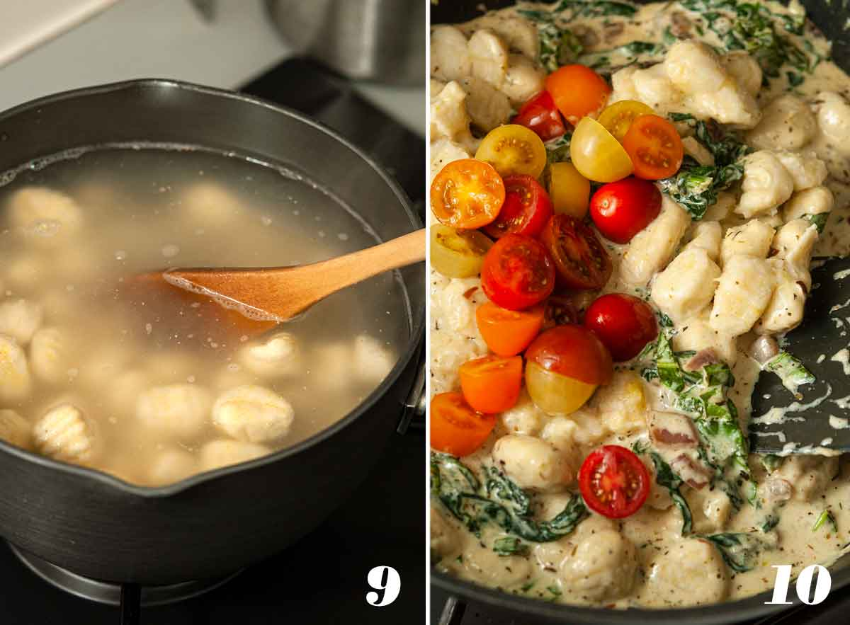 2 numbered images showing how to strain gnocchi and add it to other ingredients.