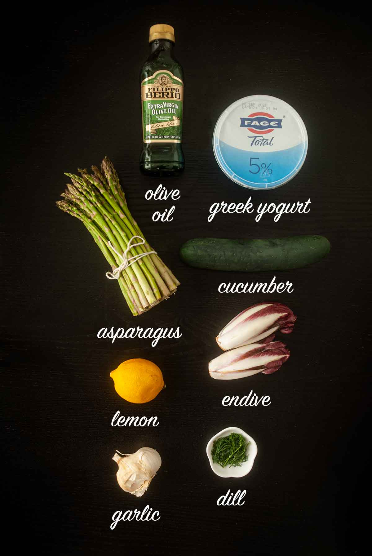 7 ingredients for making Tzatziki, endive and lemon asparagus with titles explaining what they are.