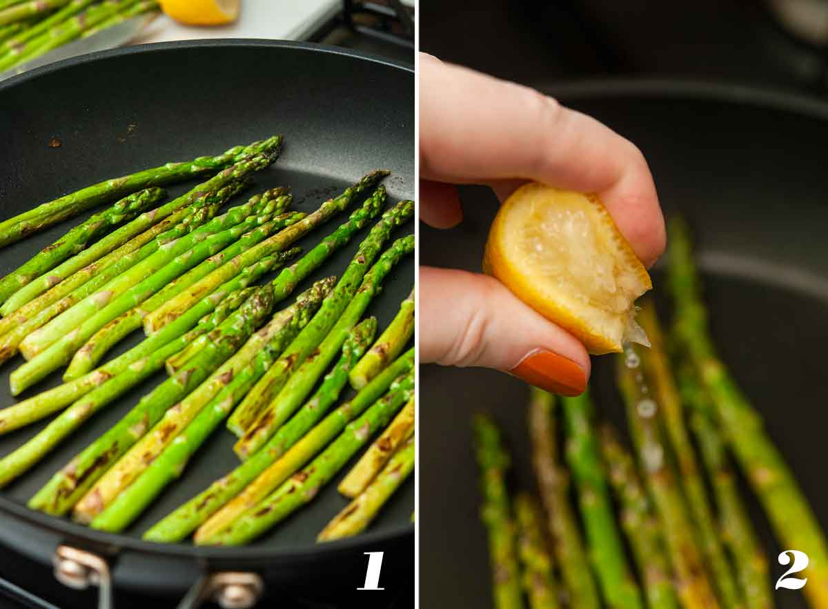 2 numbered images showing how to make lemon asparagus.