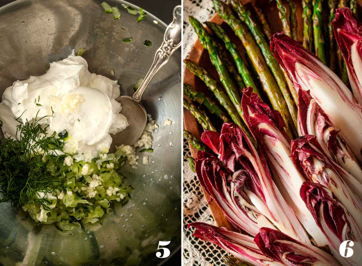 2 numbered images showing how to mix tzatziki and prepare endive and asparagus.