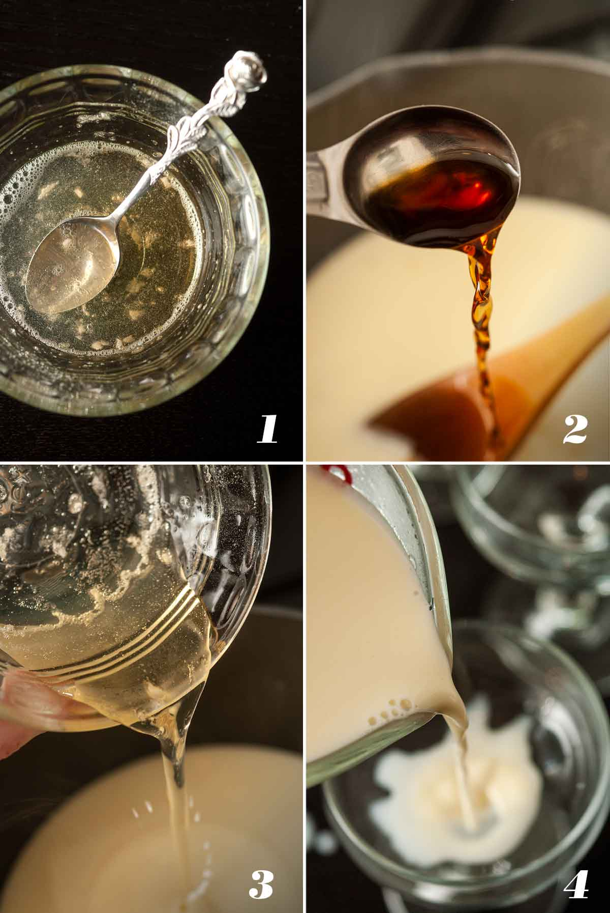 A collage of 4 numbered images showing how to make panna cotta.