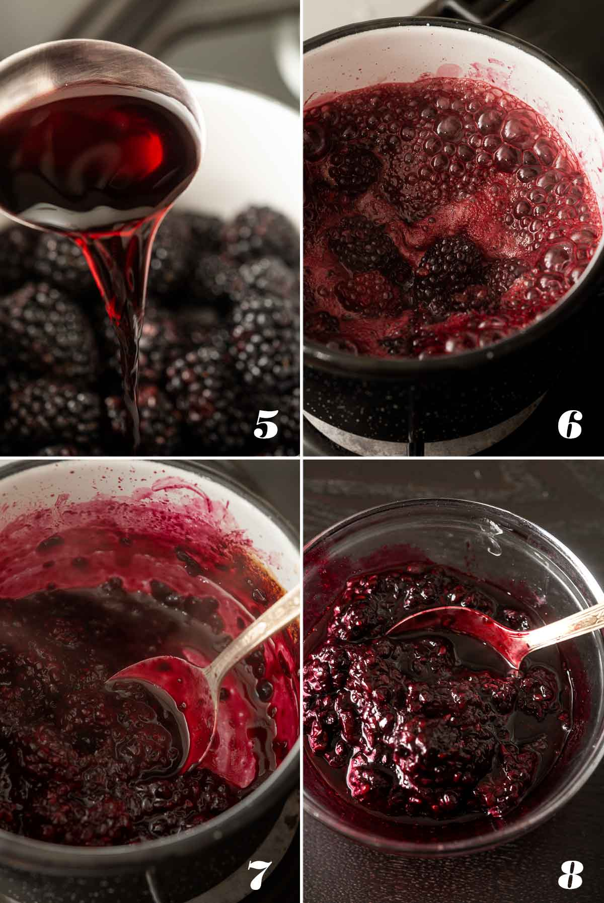 A collage of 4 numbered images showing how to make berry sauce.
