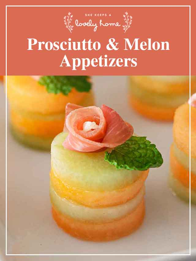 """A small melon appetizer with a title that says """"Prosciutto & melon Appetizers."""""""