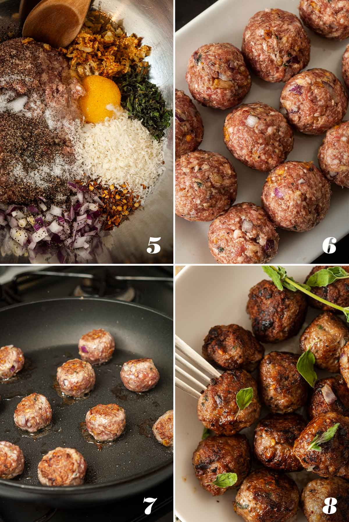 A collage of 4 images showing how to make spicy lamb meatballs.