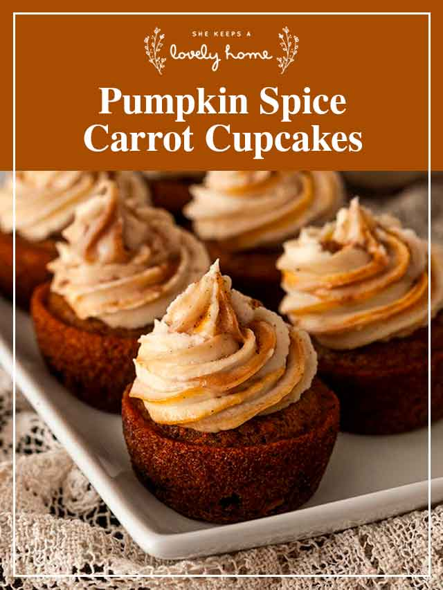 """5 carrot cupcakes on a plate with a title that says """"Pumpkin Spice Carrot Cupcakes."""""""