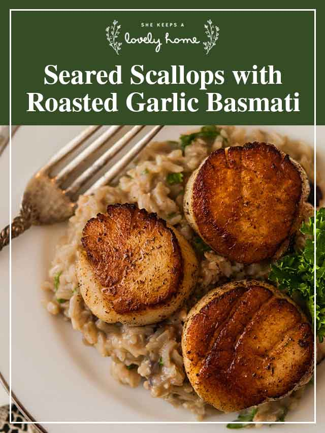 """3 seared scallops with a title that says """"Seared Scallops with Roasted Garlic Basmati."""""""