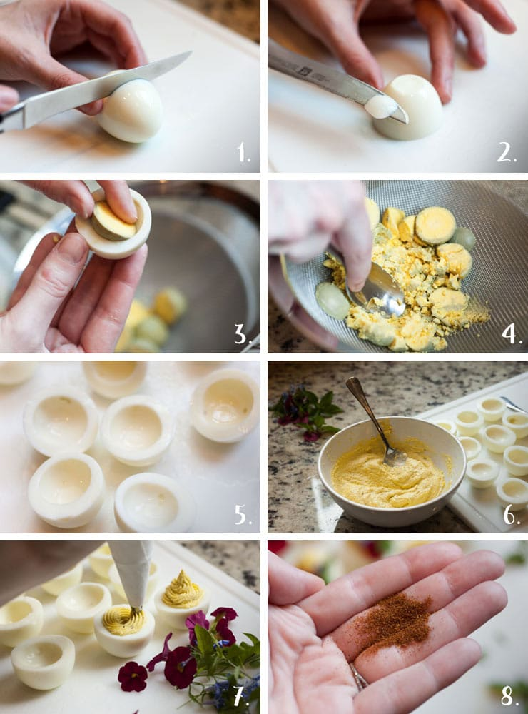 A montage of 8 steps showing the deviled egg making process.