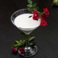 A cocktail in a martini glass, garnished with red spray roses on a black table.