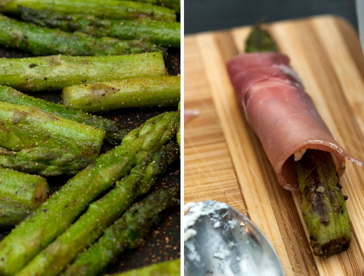 Chopped asparagus cooking in a pan next to a piece that has been rolled in prosciutto on a wooden cutting board.